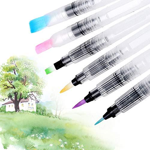 Pinceles para pintar Ohuhu. Juego de 6 pinceles de acuarela para lápices de colores solubles en agua, brochas de color a base de agua, pigmentos en polvo, pinturas de acuarela, material de escuela