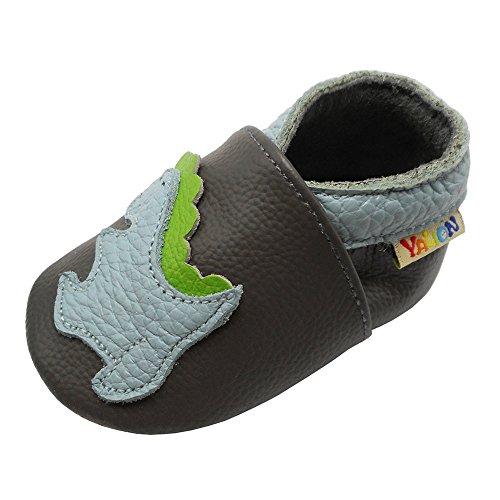 YALION Premium Weich Leder Babyschuhe Krabbelschuhe Lauflernschuhe Hausschuhe mit Dinosaurier Dunkelgrau, EU 22/23=L