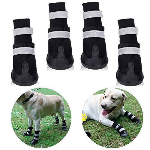 4pcs Botas Perros, Protectores Patas para Perro, Zapatos Impermeable para Mediano y Grandes Perros, de 2 Reflecante Bandas, Suela Antideslizante y Estable para Mediano y Grandes Perros, Negro