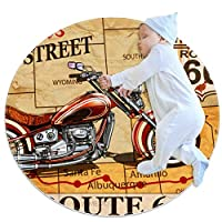 エリアラグ軽量 オートバイのポスター フロアマットソフトカーペット直径39.4インチホームリビングダイニングルームベッドルーム