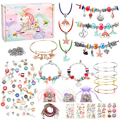 Mukum 136PCS DIY Charm Bracelet Making Kit Jewelry Supplies with Bead Snake Chain Tattoo Stickers for Unicorn Gifts for Girls
