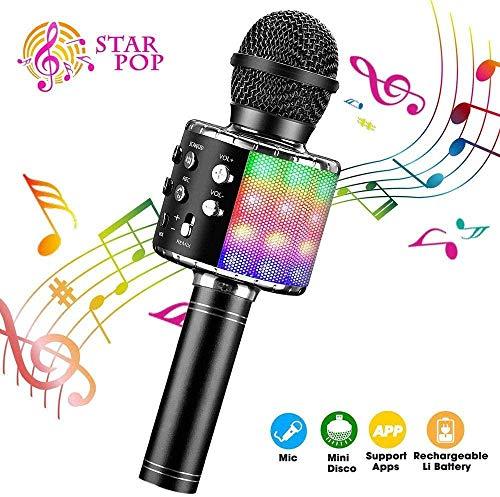 Compatibel met Android- en iOS-apparaten, draadloze karaoke-microfoon, 4-in-1 bluetooth-dancing-ledlampen, draagbare handluidspreker, karaoke-machine, home KTV-speler met opnamefunctie (upgrade)