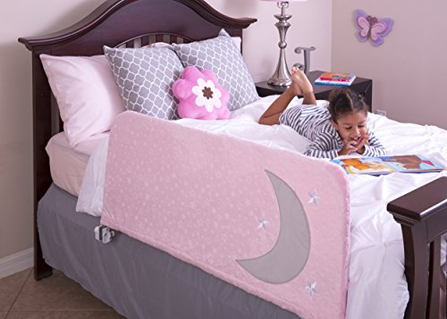"""Bed Rail for Toddlers Includes Beautiful Decorative Cover with Inside Pocket for Books and Toys, 43"""" Pink - Fits Twin, Full, Queen, King by Cosie Covers"""