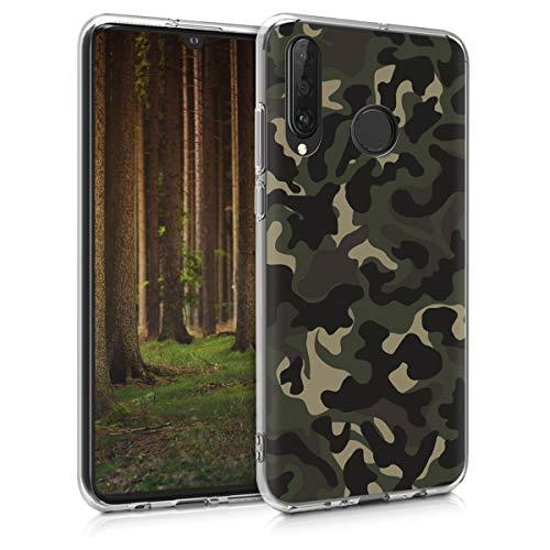 kwmobile Carcasa Compatible con Huawei P30 Lite - Funda de TPU y Camouflage en Verde Oscuro/marrón Oscuro/Beige