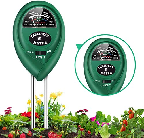 CharmUO Soil pH Meter, 3-in-1 Soil Moisture/Light/pH Tester Tool Kits for Garden Plants, Farm, Lawn, Indoor & Outdoor