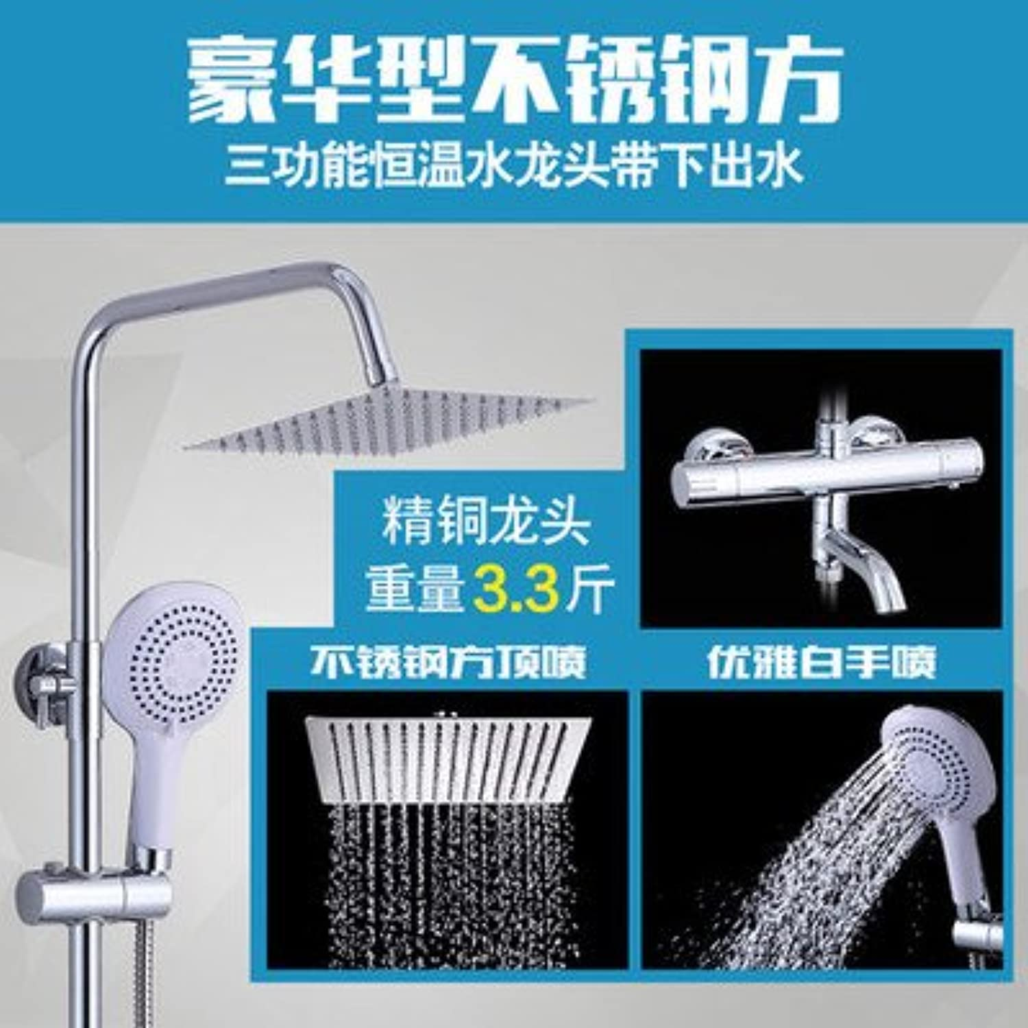 NewBorn Faucet Kitchen Or Bathroom Sink Mixer Tap Shower Mixer Thermostatic Shower Mixer Taps, Hot & Cold Water Shower Set Brass Water Tap S Heated Water With redating Three-Round Package