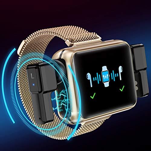 HJKPM T91 Smartwatch, Reloj Inteligente De Salud De Pantalla Grande A Prueba De Agua IP68 A Prueba De Agua con Diseño De Carga Magnética Y Integrados Verdaderos Inalámbricos Auricular Bluetooth,Oro