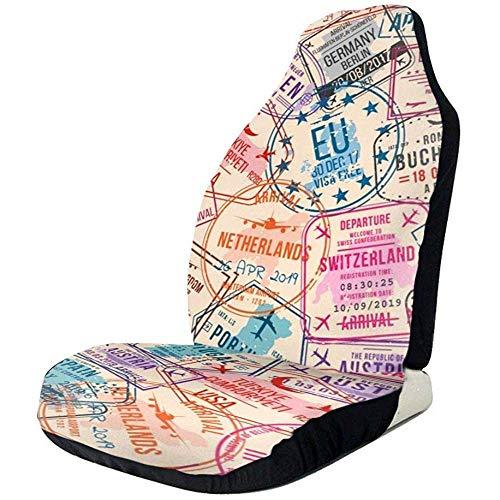 Alice Eva Fahrzeugsitz-Schutz-Auto Mat Covers, Pass-Visum-Stempel, nahtloses Muster. Auslands- und Einwanderungsamt