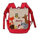 Striefchen® Kinderrucksack in Rot - Waldtiere - mit Aufdruck des Namens
