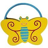 mogist Nios Instrumentos de Msica Madera Mano Pandereta amarilla mariposa dibujos animados animales patrn Sonajeros Tambor Nios juguete para el Aprendizaje con campanas de mano