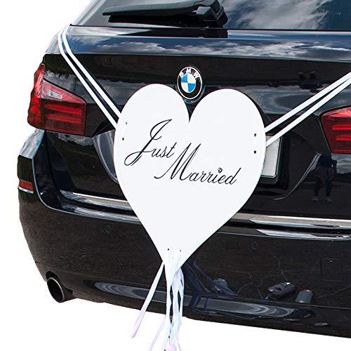 Weddix Riesen Autodeko Herz Just Married für die Hochzeit, Autoschmuck für die Motorhaube Hochzeitsauto