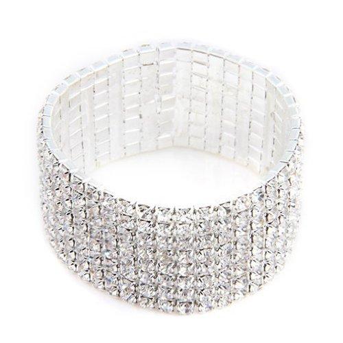 TOOGOO(R) 27mm Brazalete ajorca plateado de diamantes de imitacion