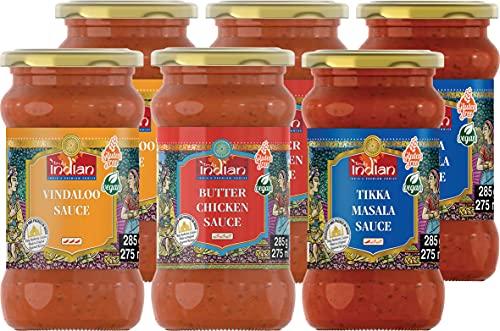 TRULY INDIAN Fertigsaucen Mischkarton, 2 x Butterchicken, 2 x Tikka Masala, 2 x Vindaloo, für schnelle Gerichte mit natürlichen Zutaten – Authentisch indisch kochen – Vegan & glutenfrei – 6 x 285 g