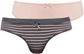 Dorina Louise High Waist Briefs Set for women (pack of 2) in Multi Color, Size: M