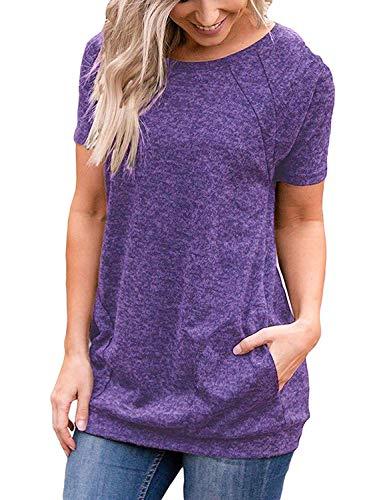 Iclsoam Camiseta Ancha Mujer Verano Baratas Transpirable Suave Camisas Tops