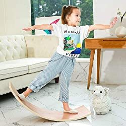 commercial HAJACK wood balance board, wobble fluffy board for kids and adults, natural wood rocker board, excellent … wobble boards