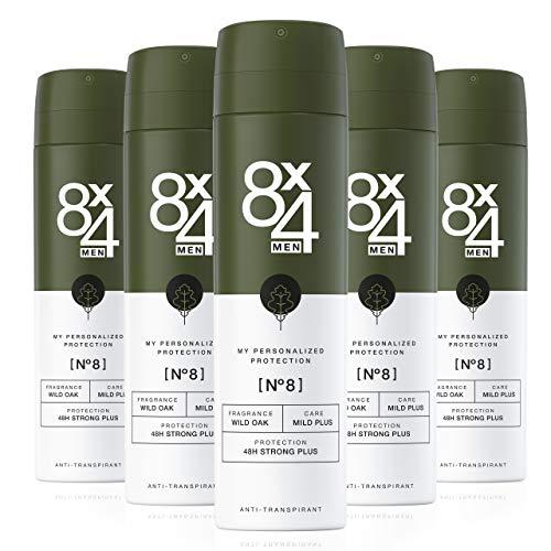 8X4 Men Deo Spray N°8 Wild Oak (5 x 150 ml), Herren Deodorant mit erdig-holzigem Duft, 48h zuverlässiger Anti-Transpirant-Schutz für sensible Haut