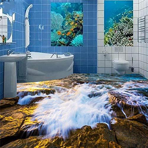 ZJfong Aangepaste vloerbedekking Een mooie golfsteen 3D woonkamer slaapkamer keuken badkamer vloerdecoratie schilderij 330 x 210 cm.