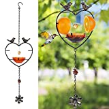 FORUP Oriole Bird Feeder for Outdoors Jelly and Oranges, Orange Fruit Oriole Jelly Bird Feeder, Outdoor Garden Metal Hanging Drinking Grape Jelly Container Hummingbird Feeder, Heart Shape