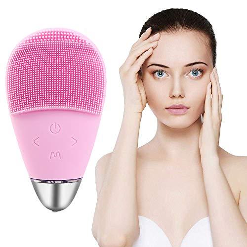 À Double Usage du Visage de Nettoyage Brosse, Massage Visage en Silicone électrique Brosse Peau Anti-âge imperméable Nettoyant Exfoliant et Deep Tool (Rose)
