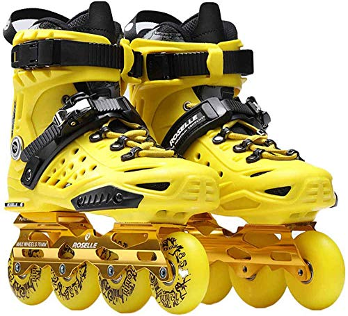 BENREN Professional Inline Speed Skating Shoes, Inline Skate Shoes, Single Row for Women and Men, Beginner Sports Outdoors Fitness,Yellow