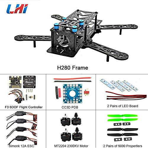 LHI 280 Race Quad ARF 280mm Carbon Fiber Frame Kit + F3 6DOF Flight Controller + MT2204 2300KV Brushless Motor + Simonk 12A ESC + 5030 Propeller Prop 2-3s ARF Kit FPV Quadcopter QAV250 Pro