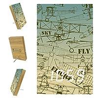 寝室用デジタル目覚まし時計キッチンオフィス3アラーム設定ラジオ木製卓上時計-レトロシームレスパターン古い飛行機の描画