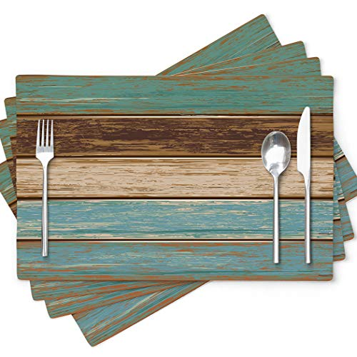 GALMAXS7 Teal Placemats Farmhous Placemats Modern Abstract Art Retro Rustic Wood Texture Heat Resistant Placemats for Dining Table 18 x 12 Inch Place Mats Set of 4 Washable Cloth Placemats