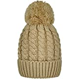 Women's Winter Beanie Warm Fleece Lining - Thick Slouchy Cable Knit Skull Hat Ski Cap (Beige)