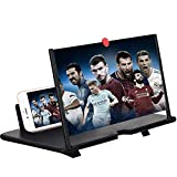 12'' 3D Screen Magnifier for Cell Phone, HD Smart Phones Screen Enlarger Projector Movie Amplifier with Foldable Stand for iPhone Xs/XR/X/8/8 Plus/7/7 Plus/6S Samsung Galaxy S7 and All Mobile Phones