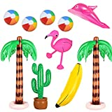 Xiangmall 10 Pack Juguetes Inflables Flamenco Palmera Banana Pelotas de Playa Delfín Cactus para Decoración Fiesta Piscina Hawaii Luau Telón de Fondo (10 Pcs)