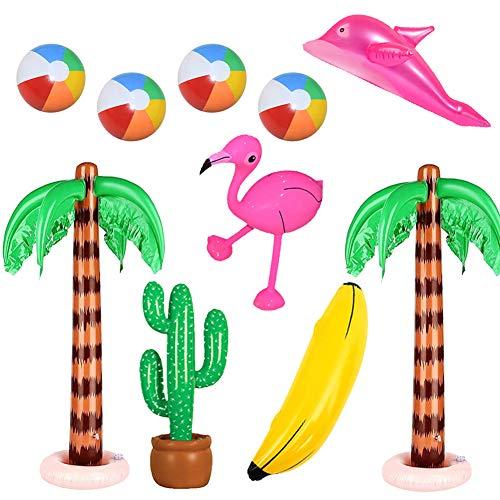 Xiangmall 10 11Pz Hawaii Decorazioni Palme Gonfiabile Flamingo Giocattoli da Spiaggia Banana Delfino Palloni da Spiaggia per Festa Hawaiiana Piscina Sfondo Fotografico (10 PCS)