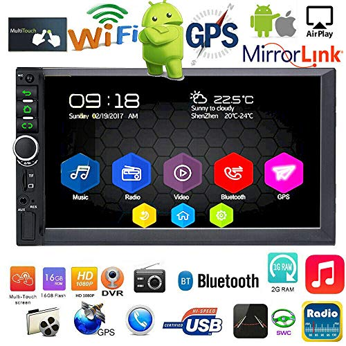 Binize 7 Inch Android 9.1 HD Quad-Core 2 Din Car Stereo Radio Multimedia Player NO-DVD GPS Navigation in-Dash Auto Radio Bluetooth/USB/WiFi DVR (2GB RAM+16GB ROM)
