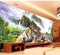 Bosakp 3D巨大な壁画タイガー抽象絵画壁画用寝室のソファテレビ壁紙壁画壁紙 280X200Cm