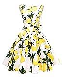 Hanpceirs Women's Boatneck Sleeveless Swing Vintage 1950s Cocktail Dress Lemonwhite XL