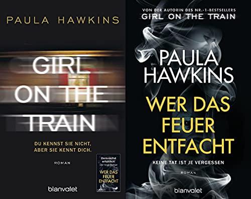 Girl on the Train + Wer das Feuer entfacht von Paula Hawkins + 1 exklusives Postkartenset