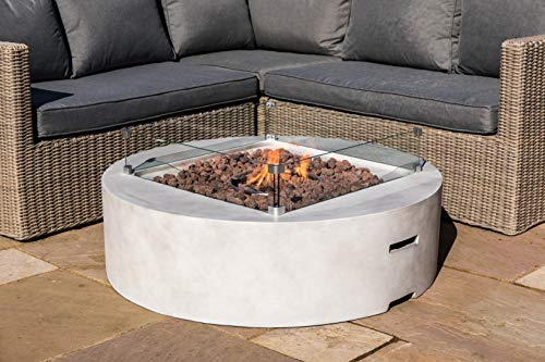Peaktop Firepit Outdoor Gas Fire Pit Stone with Lava Rock & Cover HF42408AA-UK, Grey