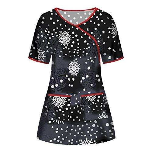 Yowablo Bluse Frauen Kurzarm V-Ausschnitt Tops Working Uniform Weihnachten Thanksgiving (XXL,3Schwarz)