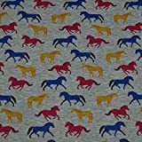 Alpenfleece bunte Pferde, meliert, grau/bunt (50cm x 145cm)