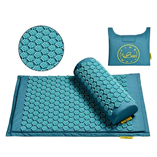 TimeBeeWell EcoFriendly Back and Neck Pain Relief  Acupressure Mat and Pillow Set  Relieves Stress Back Neck and Sciatic Pain  Comes in a Carry Bag for Storage and Travel