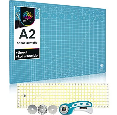 OfficeTree Schneidematte A2 Rollschneider Lineal 60 x 16 cm - Schneidematte A2 blau - selbstheilende Schneideunterlage 60 x 45 cm für professionelle Schnittarbeiten