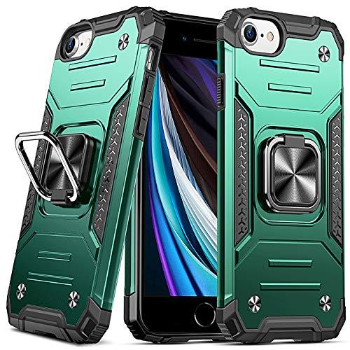 DASFOND Diseñado para iPhone 6 / 6S / 7/8 / SE 2020 Funda, Funda Protectora para teléfono de Grado Militar con Soporte Mejorado [Soporte magnético] para iPhone 6 / 6S / 7/8 / SE 2020, Verde Oscuro…