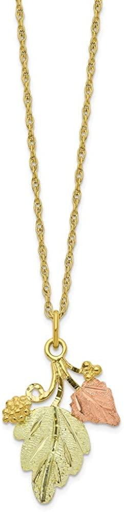 10k Tri Color Black Hills Gold Chain Necklace Pendant Charm Tree Leaf Fine Jewelry For Women Gifts For Her