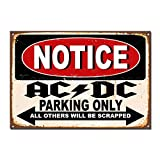 ACDC Parking Only Póster de Pared Metal Creativo Placa Decorativa Cartel de Chapa Placas Vintage Decoración Pared Arte Muestra Bar Club Café