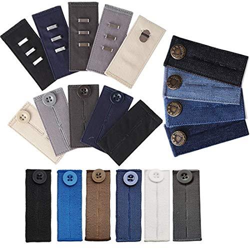 Otylzto 20PCS Pant Waist Extenders (4 Types) for Dress Pants, Khakis and Jeans, Trouser Extenders for Pregnant Women