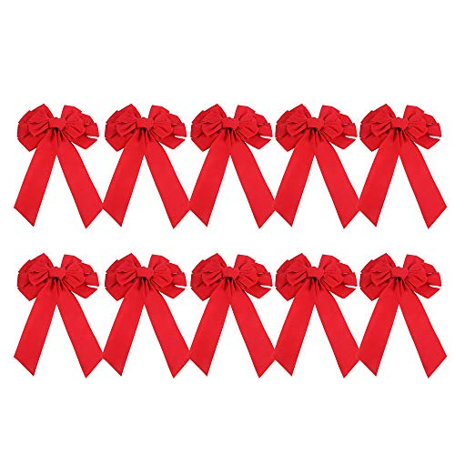 Red Velvet Christmas Bow 19' Long 10' Wide by Burlcan,10 Pcs Holiday Christmas Bows
