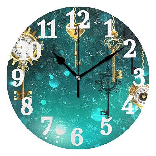 Ahomy Art Wanduhr Antik Key Gear Dial Gold Kette Runde Uhr Nicht tickend Silent Home Küche Büro Schule Uhr 25x25x0,5 cm