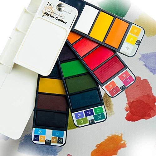 Fuumuui Acuarela de Arce Dorado, Juego de Pintura de Bolsillo de Viaje, Juego de Pintura portátil de Acuarela sólida con lápices de Acuarela, Ideal para Profesionales y Principiantes - 18 Colores