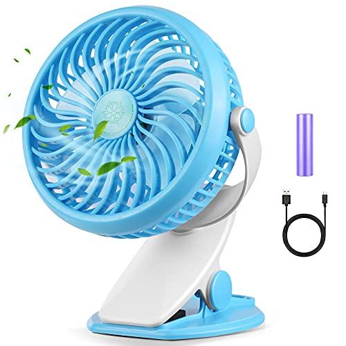 Akface Ventilatore da Tavolo con Clip, Silenzioso USB Ricaricabile, 3 Velocità, Girevole a 720 gradi per Letto, Scrivania, Ufficio, Passeggino, Campeggio, Palestra