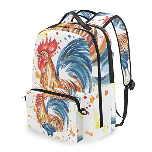 Lustiger süßer Rucksack mit Tierhahn, Hahn und Hahn Abnehmbarer Schultertasche für Schule und Computer